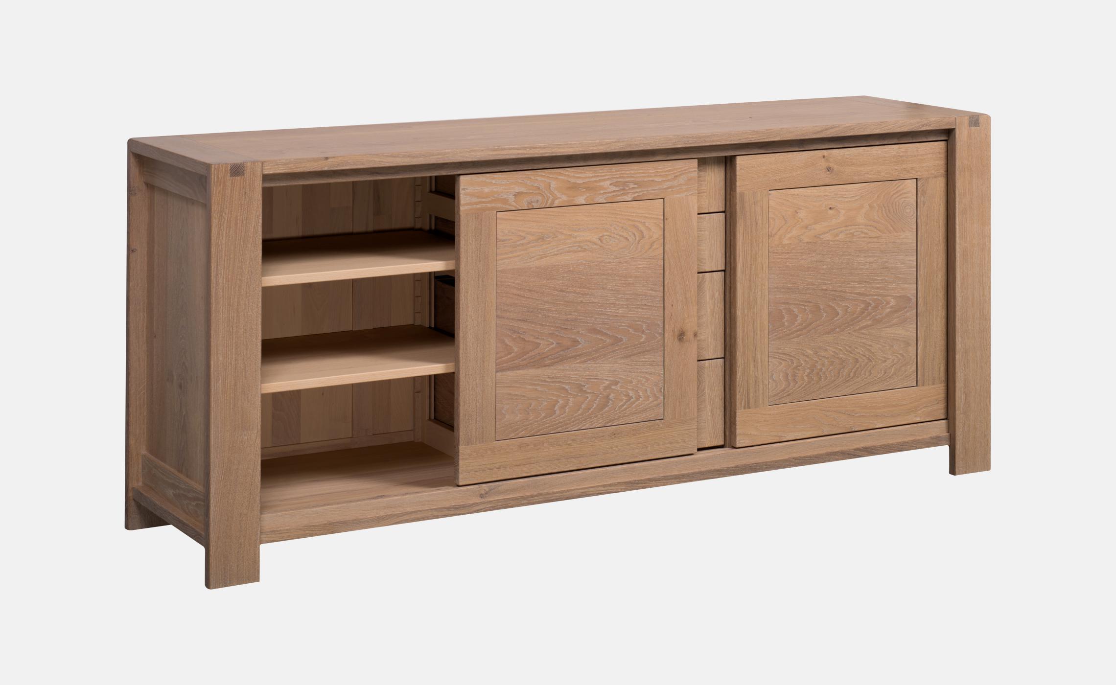 enfilade en ch ne huil avec portes coulissantes et tiroirs sainbiose delorme meubles. Black Bedroom Furniture Sets. Home Design Ideas
