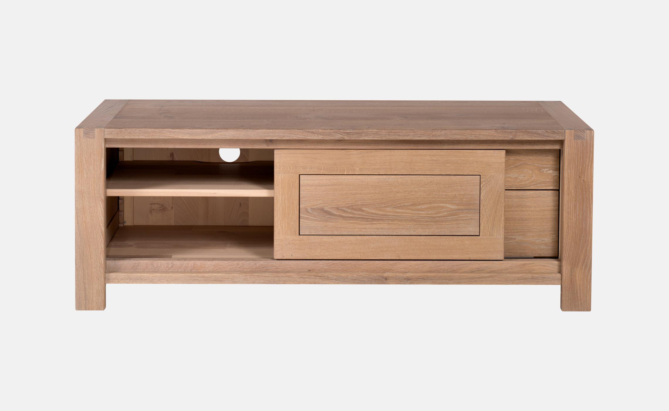 Meuble tv moderne avec tiroirs en ch ne clair sainbiose for Meuble porte tele