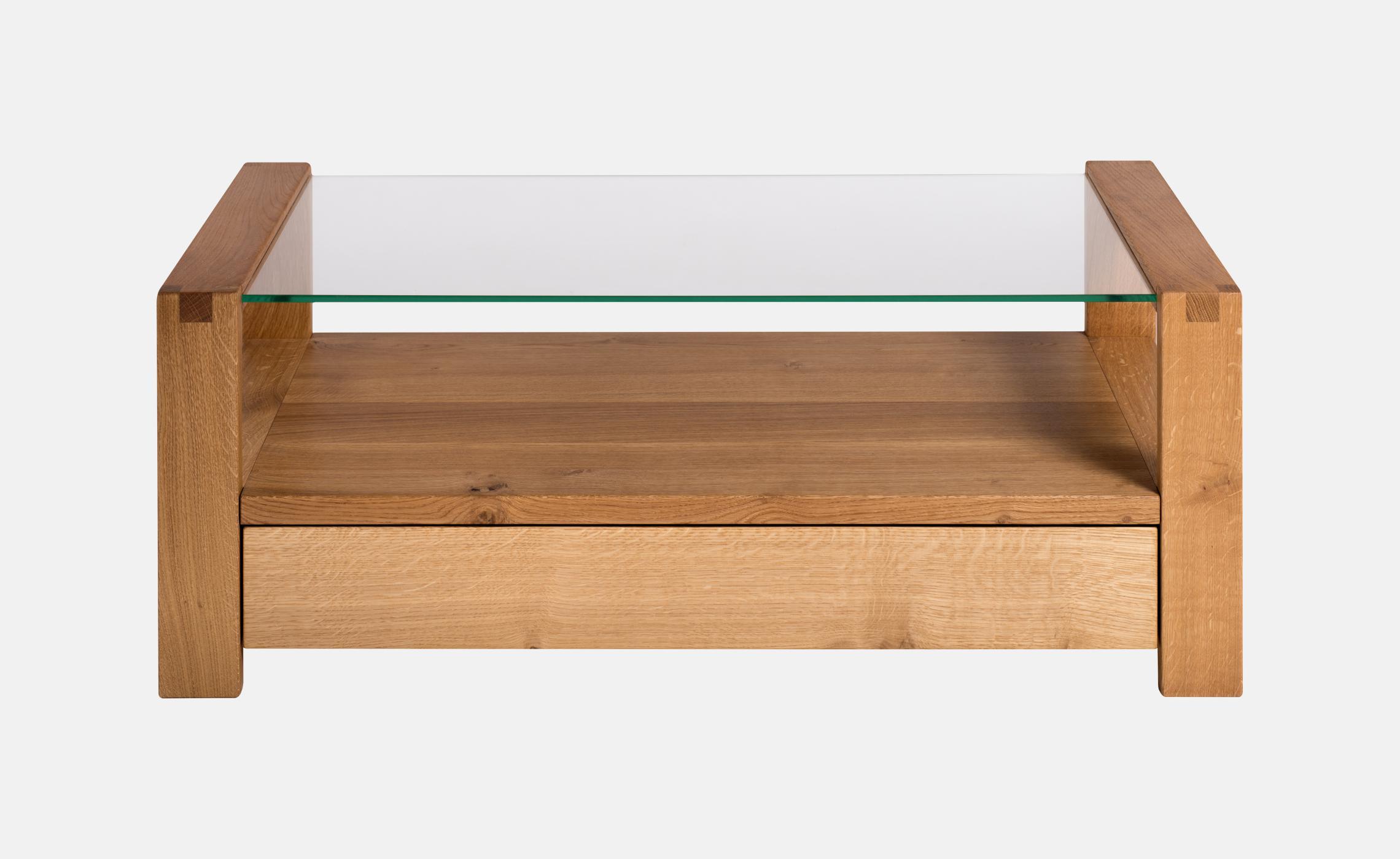 table basse moderne en verre et bois avec tiroir sainbiose delorme meubles. Black Bedroom Furniture Sets. Home Design Ideas