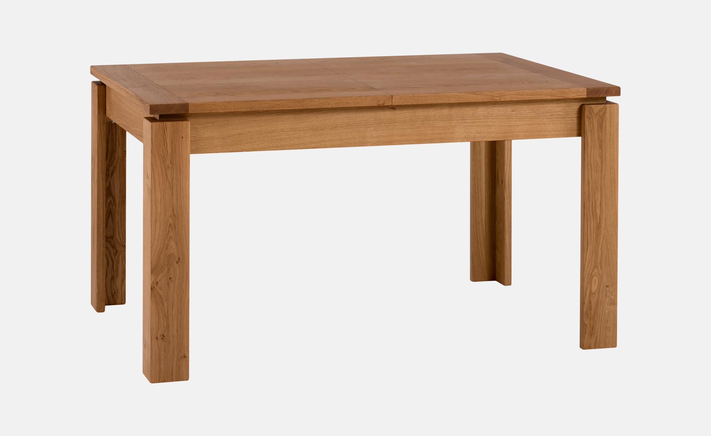 Table moderne allonges en bois massif ch ne avec for Table bois rectangulaire avec allonges