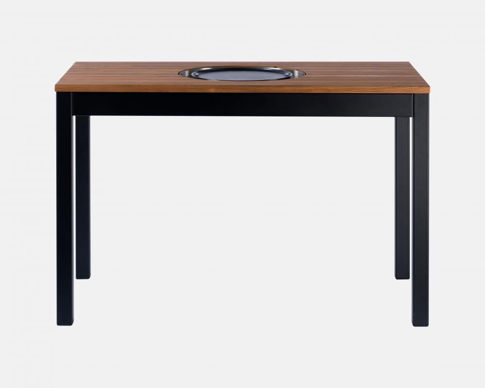 table haute avec plancha dessus lames de bois pour restaurant agape delorme meubles. Black Bedroom Furniture Sets. Home Design Ideas